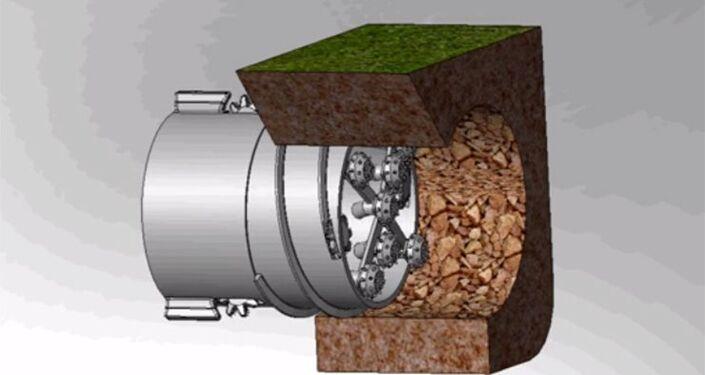 O esquema de máquina de perfuração (geokhod)