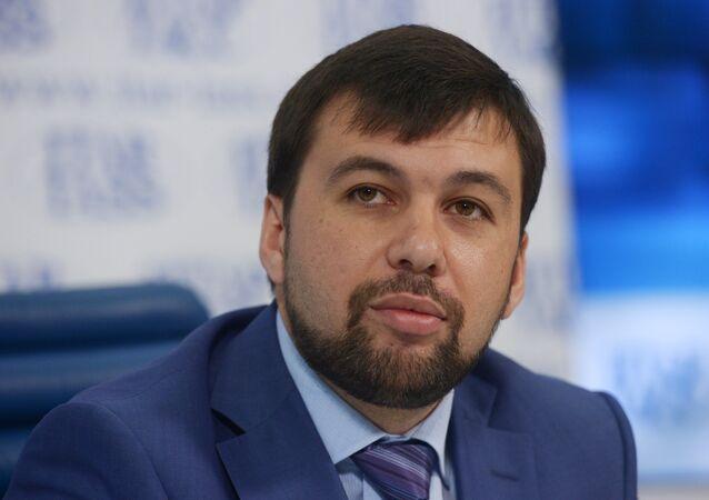 Denis Pushilin, o representante da autoproclamada República Popular de Donetsk