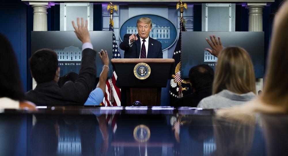 Presidente dos EUA, Donald Trump durante briefing sobre coronavírus, Washington, 21 de julho de 2020