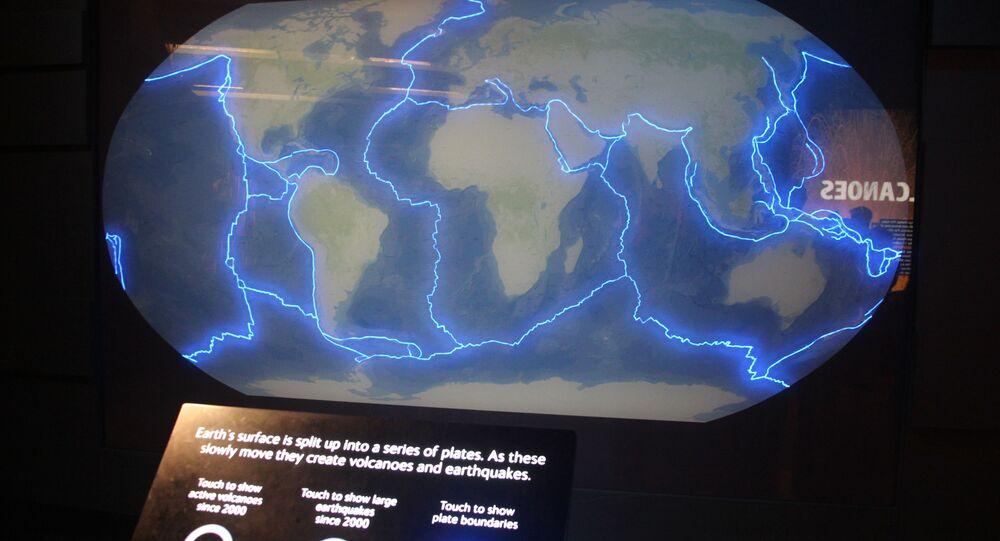 Placas tectônicas e vulcanismo no Museu de História Natural, Londres