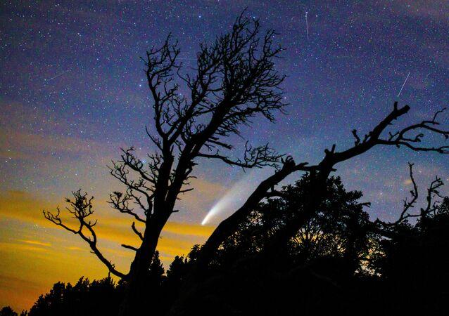 Cometa NEOWISE fica visível entre os dias 14 e 23 de julho a partir da região de Krasnodar, na Rússia. O cometa, cientificamente chamado de C/2020 F3, está de passagem no Sistema Solar e deverá voltar daqui a sete mil anos