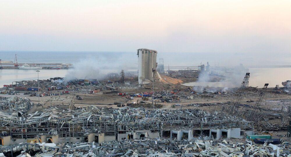 Danos causados pela explosão na zona portuária de Beirute, Líbano, 5 de agosto de 2020