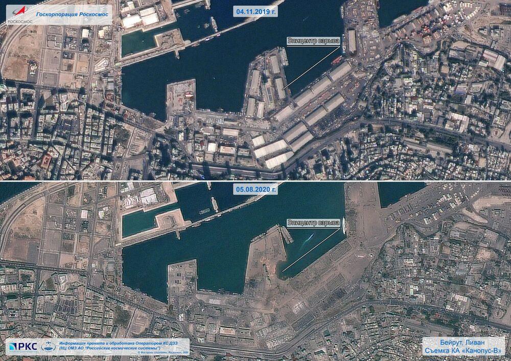 Combinação de imagens do porto de Beirute publicada pela agência espacial russa Roscosmos após a explosão massiva na cidade