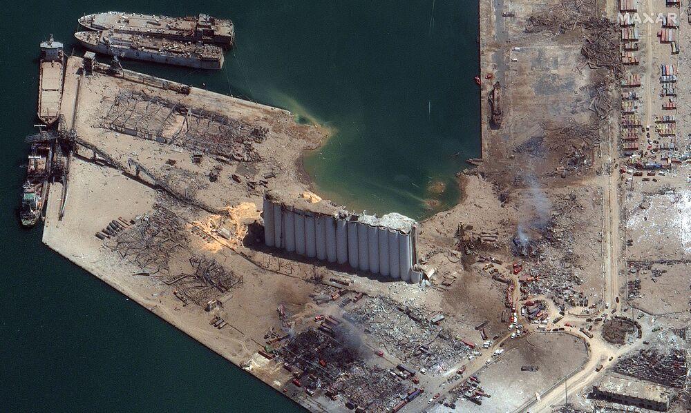 Imagem de satélite da Maxar Technologies mostra dimensão da explosão de 4 de agosto em Beirute
