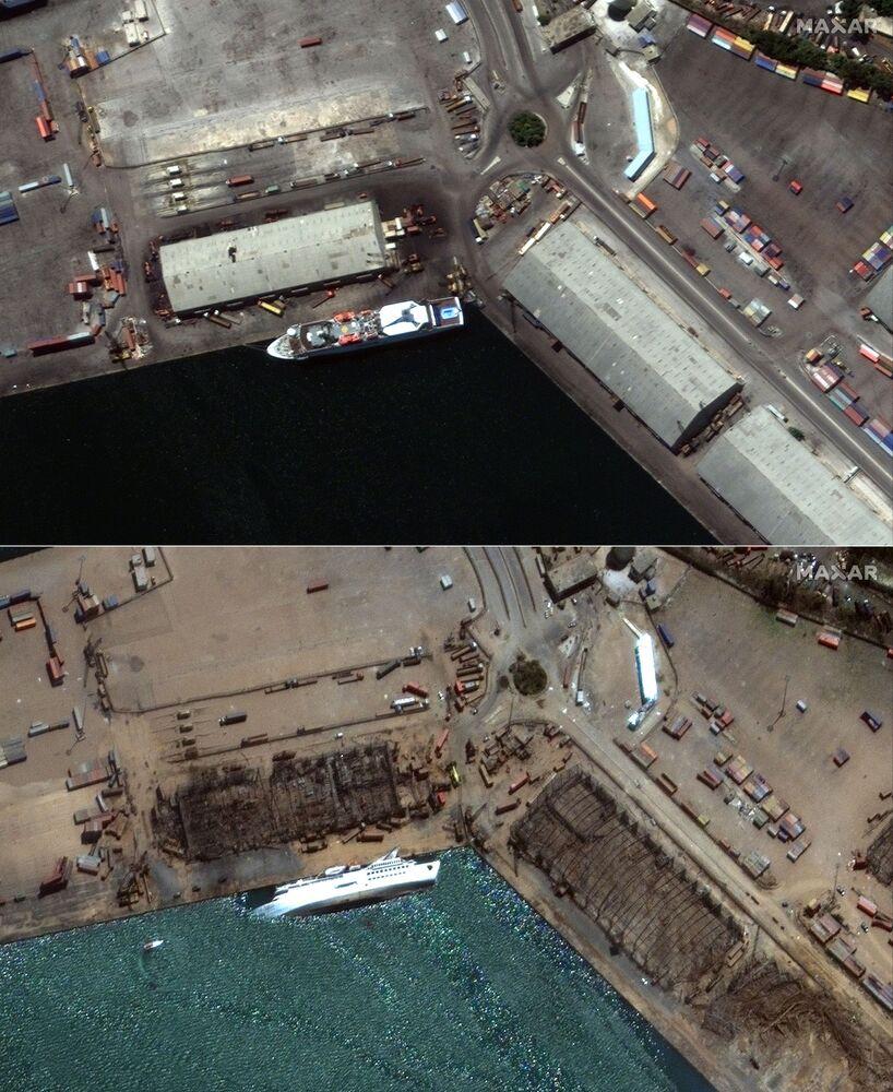 Combinação de imagens de satélite da Maxar Technologies mostra navio de cruzeiro Orient Queen derrubado pelo efeito da explosão de 4 de agosto em Beirute