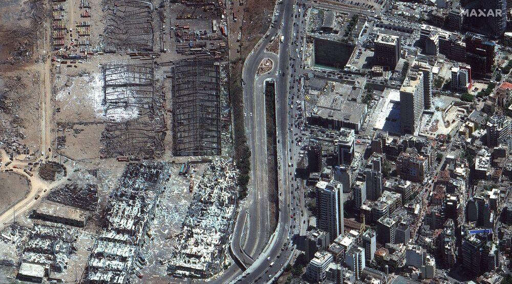 Imagem de satélite da Maxar Technologies demonstra a vista aérea de Beirute após a explosão de 4 de agosto no país árabe