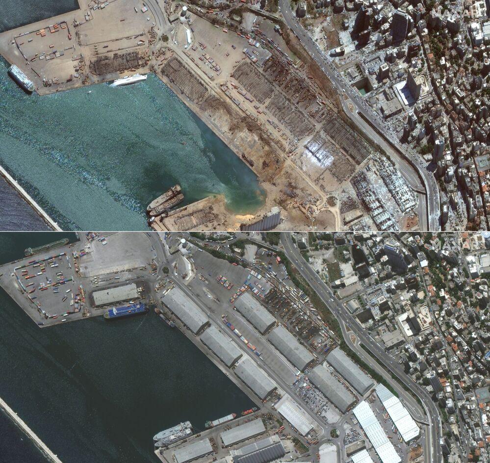 Comparação do porto de Beirute entre 2 de junho e 5 de agosto deste ano, um dia após a explosão que atingiu a capital libanesa