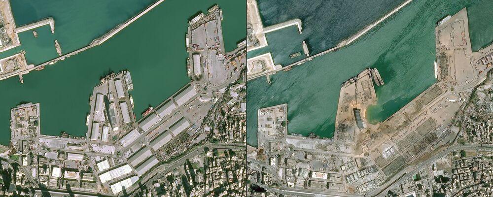 Duas imagens, uma de 25 de janeiro e outra de 5 de agosto, de satélite da Airbus DS evidenciam o alcance da explosão de 4 de agosto na capital libanesa