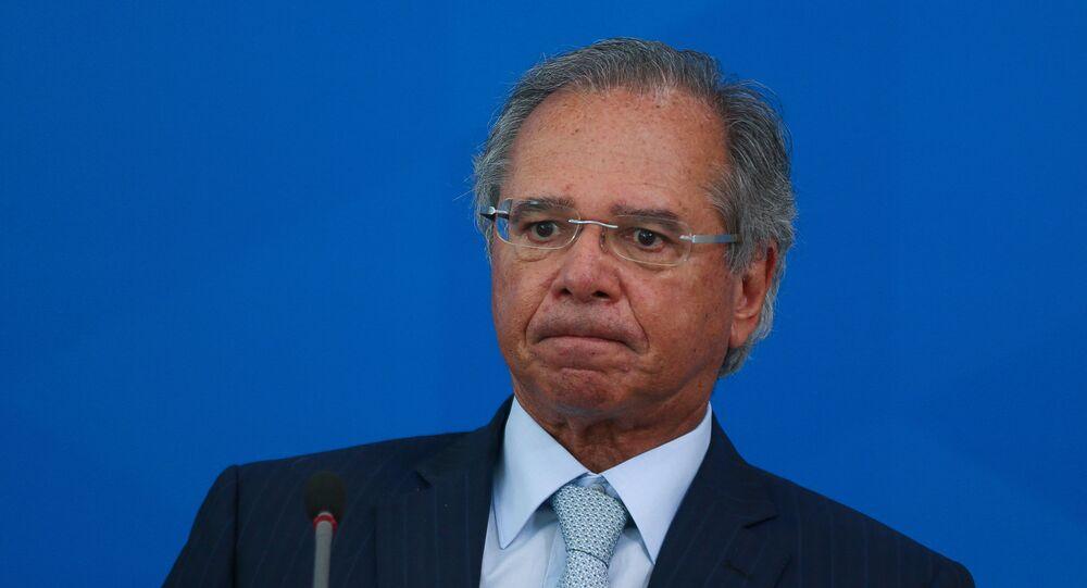 Ministro da Economia, Paulo Guedes, durante evento no Palácio do Planalto