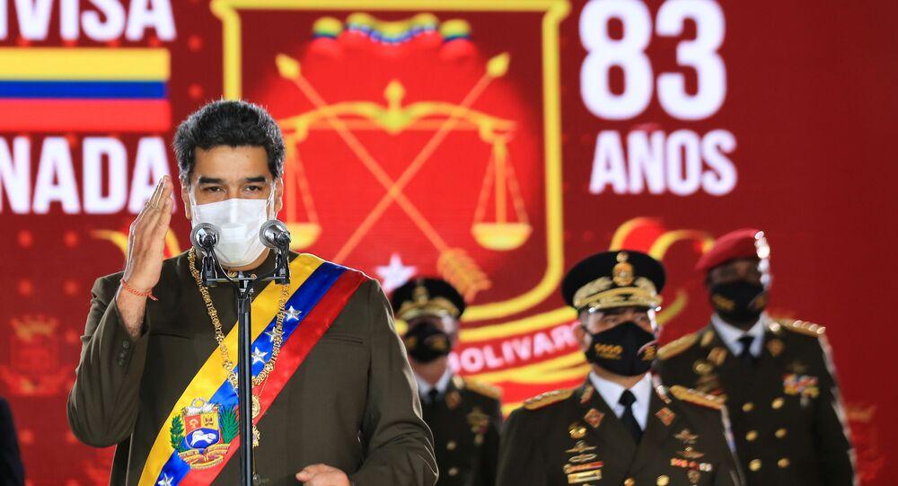 Presidente venezuelano Nicolás Maduro fala à Guarda Nacional Bolivariana em Caracas