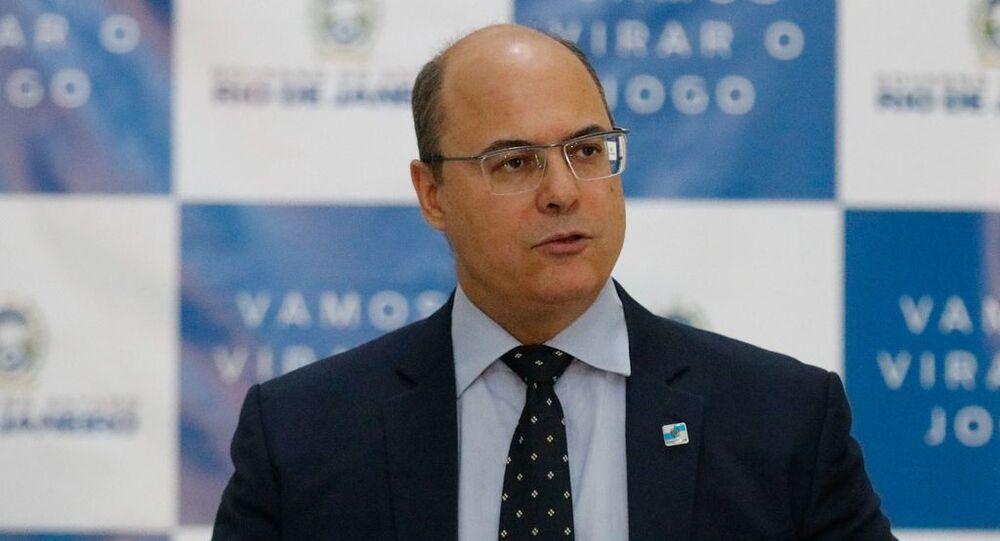 O governador do RJ Wilson Witzel durante reunião no Palácio Guanabara.