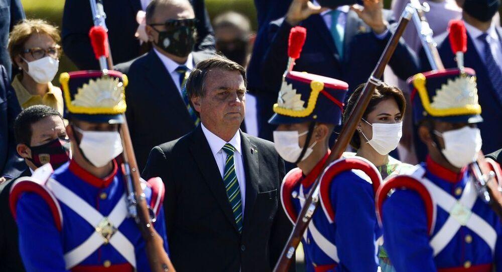 O presidente Jair Bolsonaro participa de cerimônia comemorativa do 7 de Setembro, no Palácio da Alvorada.