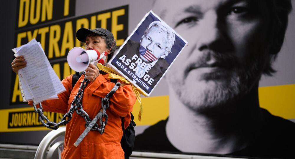 Apoiadora de Julian Assange durante manifestação contra sua extradição, em Londres