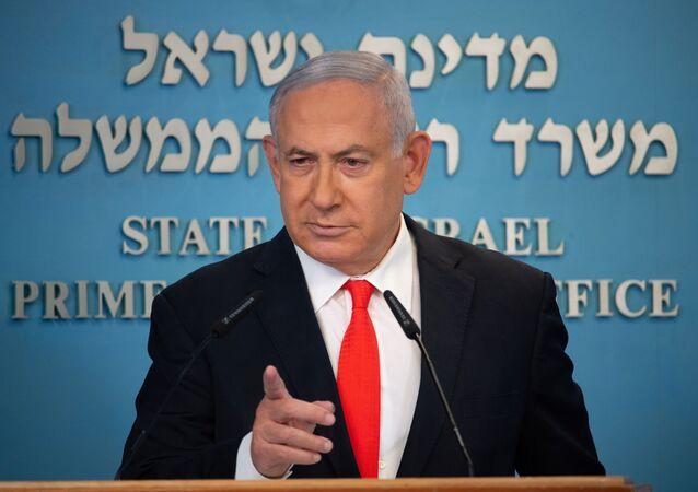 Primeiro-ministro de Israel, Benjamin Netanyahu durante briefing sobre a situação epidemiológica no país, em Jerusalém, 13 de setembro de 2020