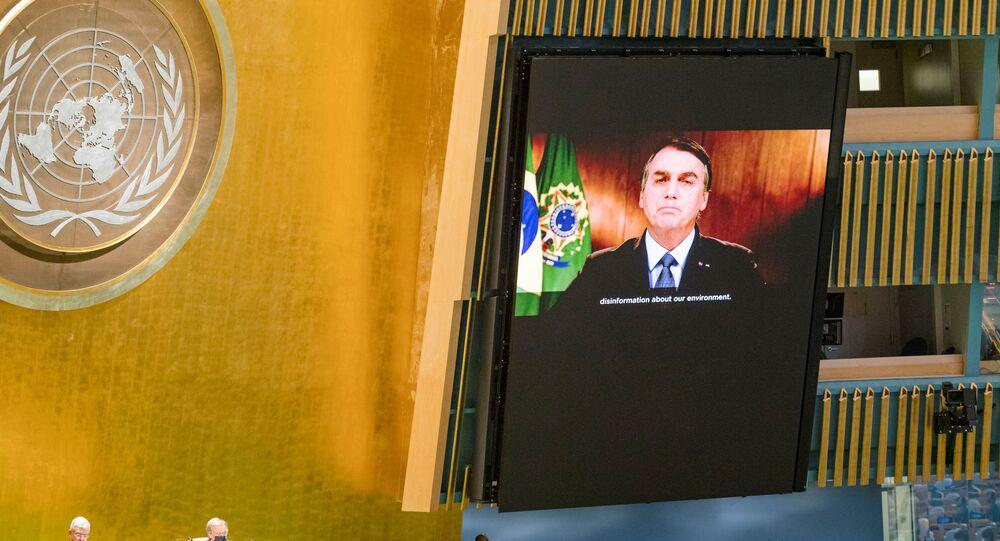 Presidente Jair Bolsonaro discursa na 75ª reunião anual da Assembleia-Geral da ONU