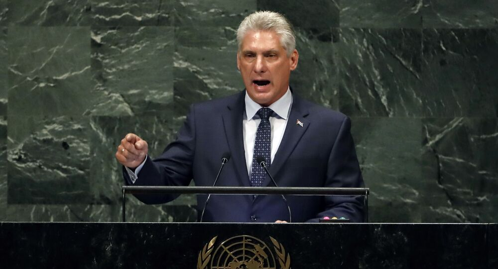 Em Nova York, o então presidente do Conselho de Ministros de Cuba, Miguel Díaz-Canel Bermudez, discursa durante a 73ª sessão da Assembleia Geral da Organização das Nações Unidas (ONU), em 26 de setembro de 2018.