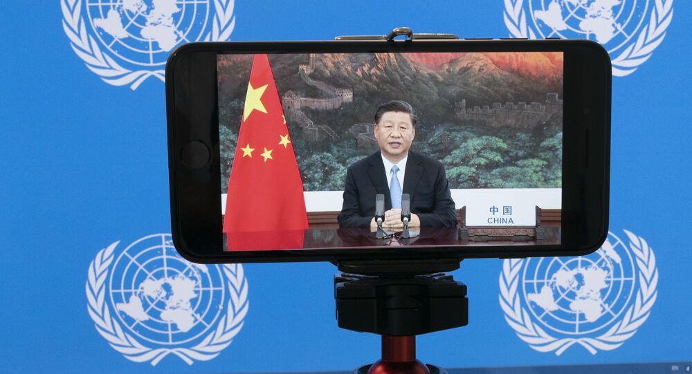 Discurso do presidente chinês, Xi Jinping, para Assembleia Geral da ONU, exibido em tela de smartphone na sede da organização, Nova York, EUA, 22 de setembro de 2020