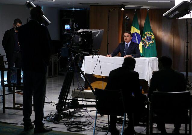 Presidente Jair Bolsonaro no decorrer da gravação da mensagem para a 75ª Assembleia Geral da ONU