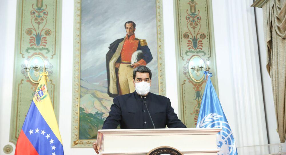 Presidente da Venezuela, Nicolás Maduro, fala durante a 75ª Assembleia Geral da ONU, realizada virtualmente devido à pandemia do novo coronavírus, no Palácio Miraflores, Caracas, Venezuela, 23 de setembro de 2020