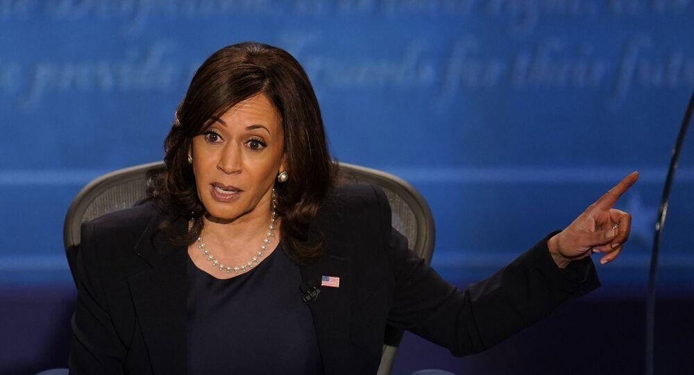 Em Salt Lake City, a candidata democrata à vice-presidência dos EUA, Kamala Harris, participa de debate com seu adversário republicano, o vice-presidente norte-americano, Mike Pence, em 7 de outubro de 2020