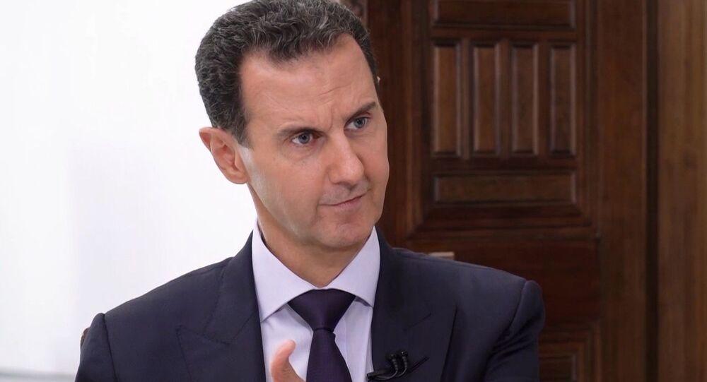 Presidente sírio Bashar Assad durante entrevista exclusiva à Sputnik