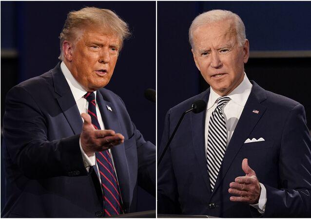 Fotos mostram Donald Trump e Joe Biden participando do primeiro debate presidencial.