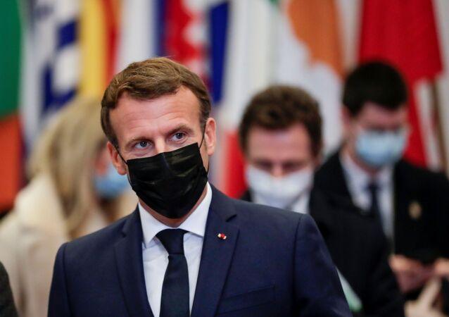 O presidente da França Emmanuel Macron durante reunião do Parlamento Europeu.