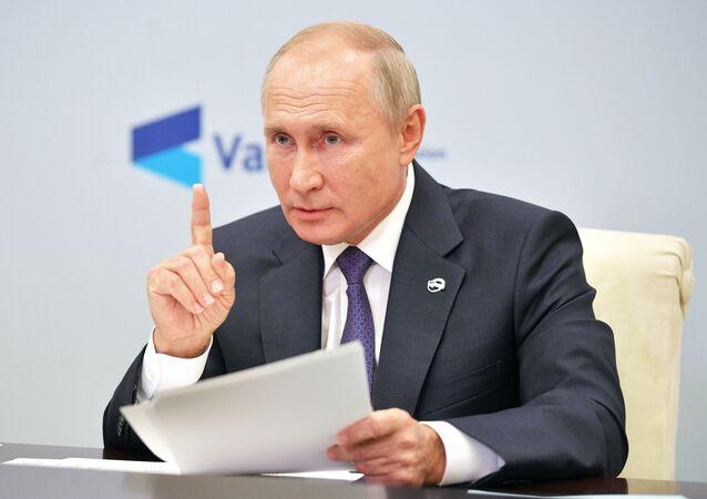 Presidente da Rússia, Vladimir Putin, discursa durante reunião do Clube de Discussão de Valdai, Moscou, Rússia, 22 de outubro de 2020