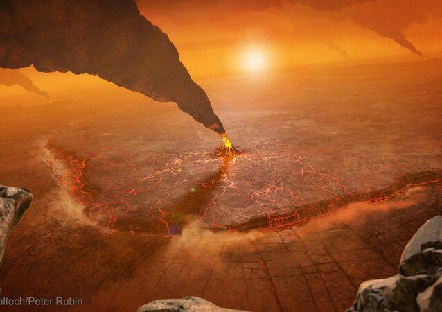 Representação artística de uma erupção vulcânica em Vênus