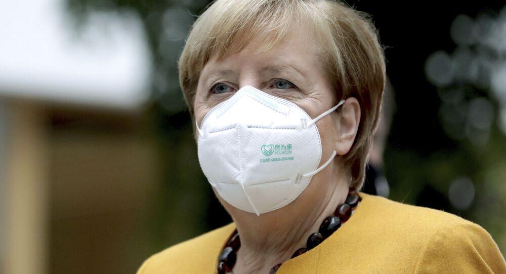 A chanceler alemã Angela Merkel durante coletiva de imprensa em Berlim, capital do país.