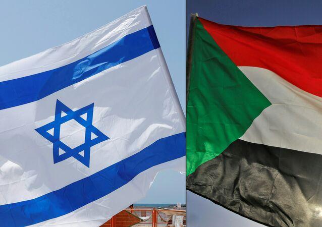 Montagem fotográfica aproxima bandeiras de Israel (à esquerda) e do Sudão (à direita)