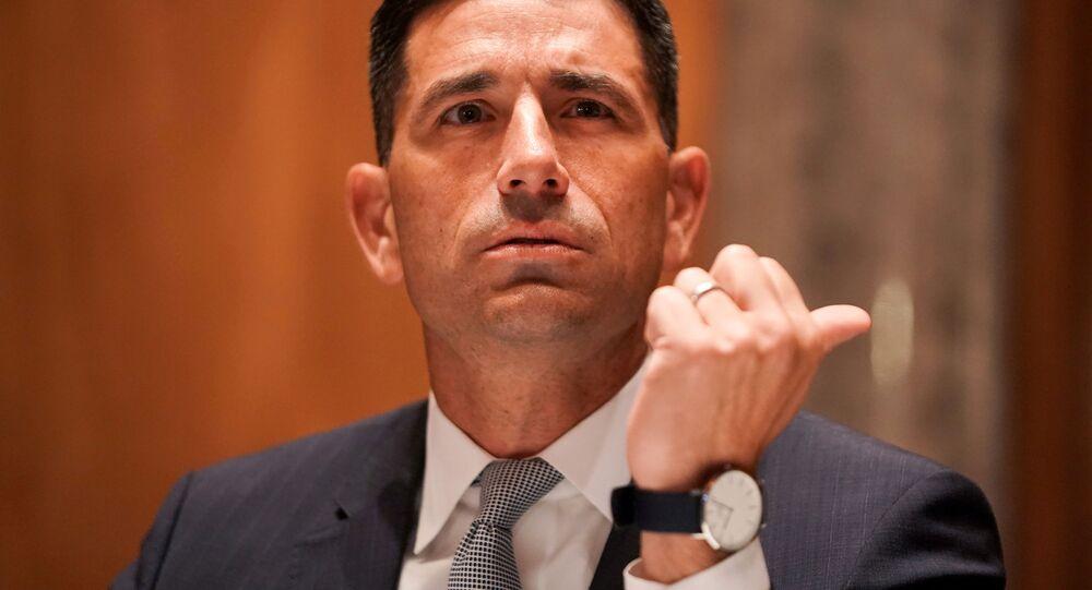 Secretário de Segurança Interna em exercício dos EUA, Chad Wolf, durante audiência em comitê do Senado.