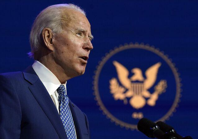 O então candidato à presidência dos Estados Unidos, Joe Biden, durante discurso (arquivo)