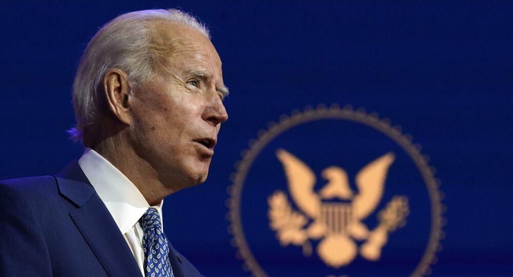 O candidato à presidência dos Estados Unidos, Joe Biden, durante discurso.