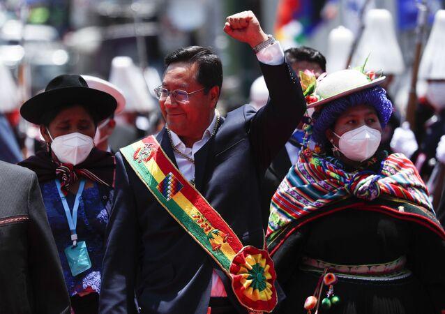 Presidente da Bolívia Luis Arce durante a cerimônia de inauguração em La Paz, 8 de novembro de 2020
