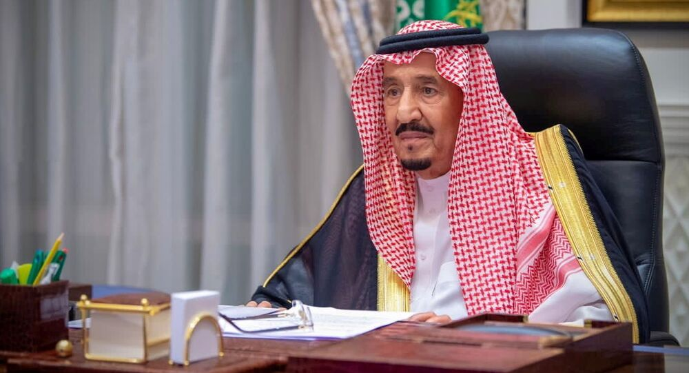 Rei saudita, Salman bin Abdulaziz discursa virtualmente na primeira sessão do Conselho Shura, Arábia Saudita, 11 de novembro de 2020