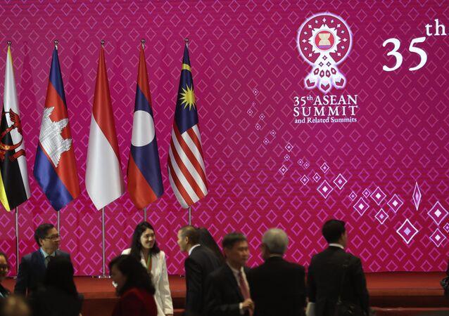 Bandeiras de países membros da Associação de Nações do Sudeste Asiático (ASEAN, na sigla em inglês)