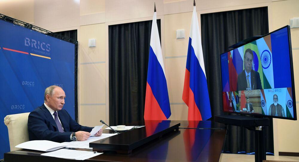 Presidente da Rússia Vladimir Putin durante a 12ª Cúpula do BRICS