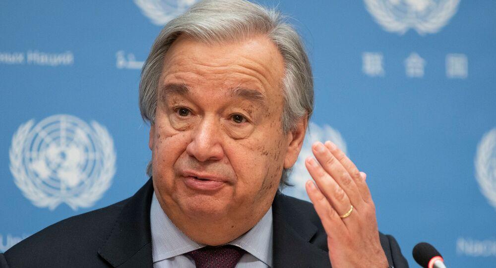 Secretário-geral da ONU, António Guterres, durante conferência na sede das Nações Unidas, em Nova York (EUA), 20 de novembro de 2020