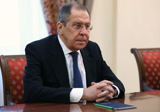 Sergei Lavrov, ministro das Relações Exteriores da Rússia, em reunião com Ara Ayvazyan, homólogo da Armênia, em Erevan, Armênia