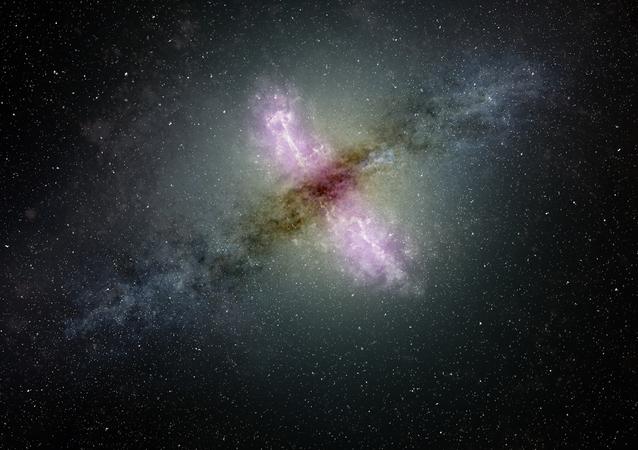 Galáxia com núcleo ativo projetando materiais do seu centro (imagem ilustrativa)