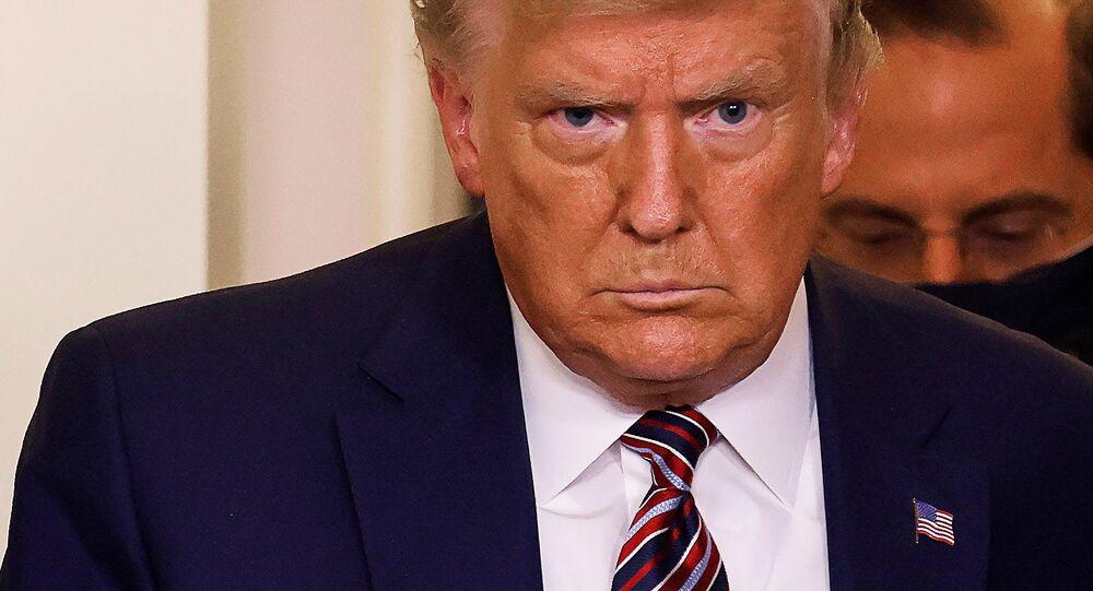 Presidente dos EUA durante coletiva de imprensa na Casa Branca, Washington, EUA, 20 de novembro de 2020