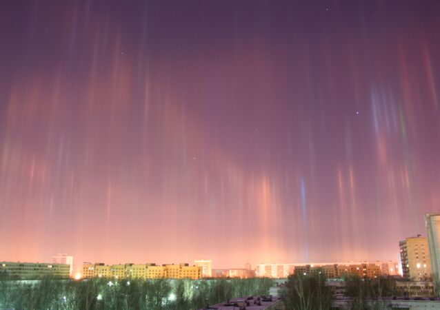 Pilares de luz (foto de arquivo)