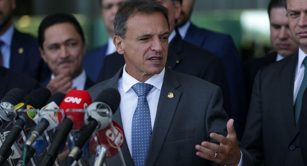 O senador Márcio Bittar (MDB-AC), relator da PEC Emergencial, concede coletiva de imprensa.