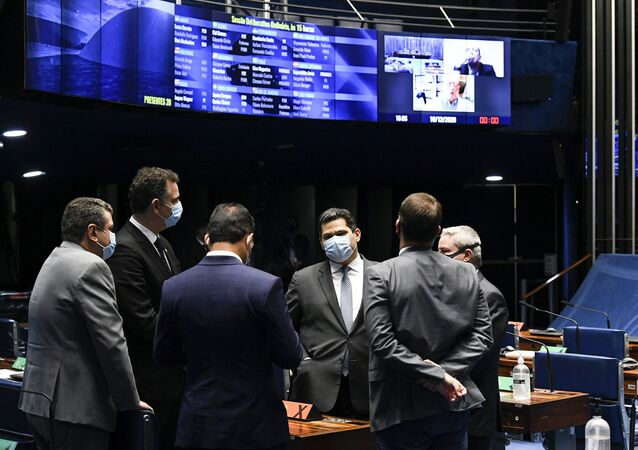 Plenário do Senado Federal do Brasil durante sessão semipresencial nesta quarta-feira, 16 de dezembro de 2020