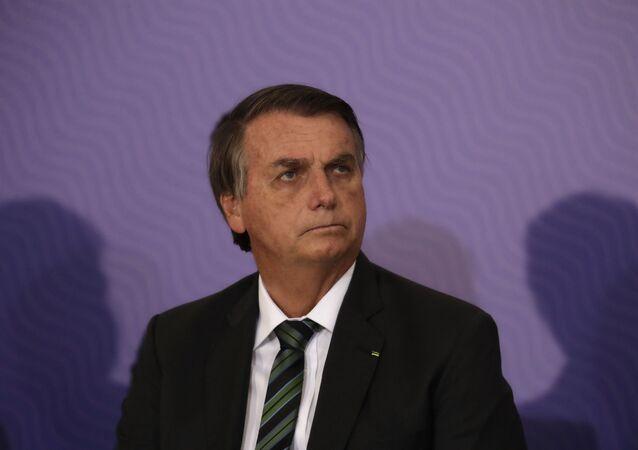 O presidente do Brasil, Jair Bolsonaro, durante cerimônia no Palácio do Planalto.