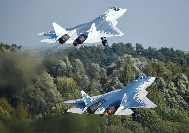 Caças russos Su-57 de quinta geração