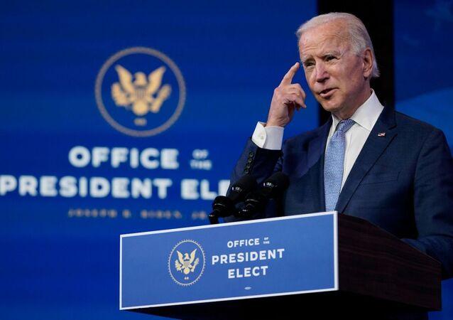 Presidente eleito dos EUA Joe Biden, durante discurso