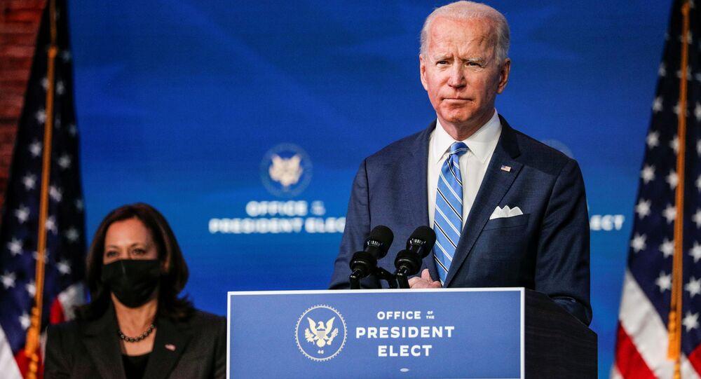 O presidente eleito dos EUA, Joe Biden, durante discurso.