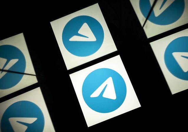 Logotipo do Telegram, serviço de mensagens móveis e de chamadas, em  Toulouse, França, 5 de outubro de 2020